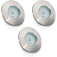 Foco LED empotrable y plano Ø 75 mm I Lámpara de techo I Kit de 3 unidades para baño I Color de la luz blanco cálido I Plástico en color níquel mate I 230 V I IP44 I 3 x 5 W