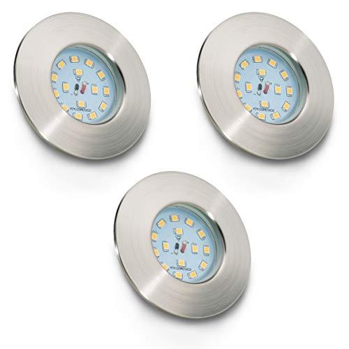 B.K. Licht lot de 3 spots LED IP44 pour salle de bain, encastrables ultra-plats, 3X5W LED inclus, plafonnier salle de bain, éclairage salle de bain encastrable, 230V, IP44