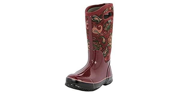 Insulated Paisley Ladies Classic Burgandy Wellington Warm Tall Bogs qXzxAz