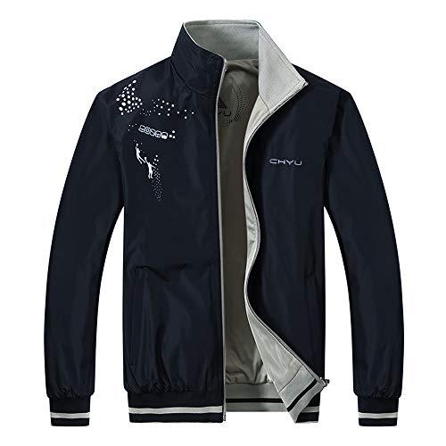 Herren Zipped Jacket Windjacke Winterjacke Kapuzenjacke Doppelseitige Jacke Atmungsaktiv Wasserdicht Jacke Outdoor Fun Softshelljacke Outdoor Funktionsjacke Sport Regenjacke Outwear Coat(Dark Blue, L)