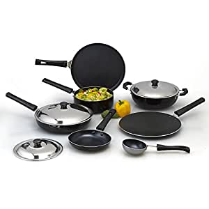 Anjali Splendor 7 Pcs Nonstick Gift set (Dosa tawa 270mm, Fry pan 240mm, Kadai 2 Ltr, Roti Tawa 260mm, Tadka vati -6, Sauce pan 1.5 Ltr,Tapper pan 175 mm, 3 Stainless Steel Lids)