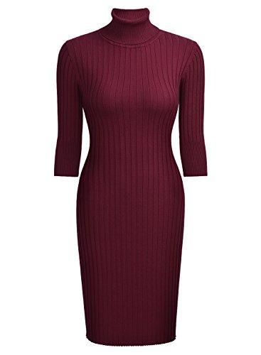 Miusol Damen 3/4 Aermel Wollkleid hoher Kragen Figurbetontes Strickkleid Pullover Kleid Weinrot Gr.46/48/L - 6