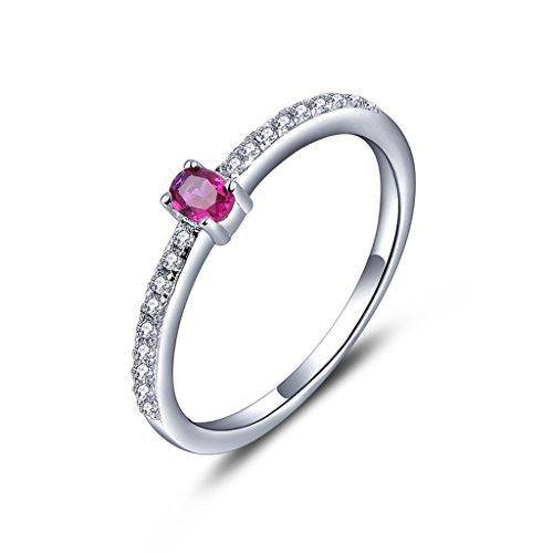 YL Jewelry Damen Ring 925 Sterling Silber 3mm * 4mm Oval erstellt Rubin Ring - Aus Größe 3-ring Silber Sterling