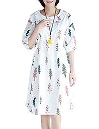 ELLAZHU Femme Été Tour De Taille Impression Mi-Longue Robe GA681