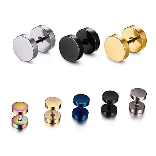 HIWSSH Ohrring Black Silver Stainless Steel Ohrrings Women Men's Barbell Dumbbell Punk Gothic Stud Ohrring For Men Black 3 mm -