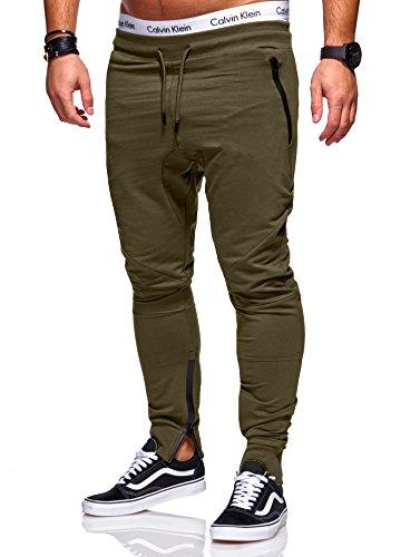 MT Styles Herren Zipper Jogger Trainingshose Sporthose RS-5023 [Khaki, M]