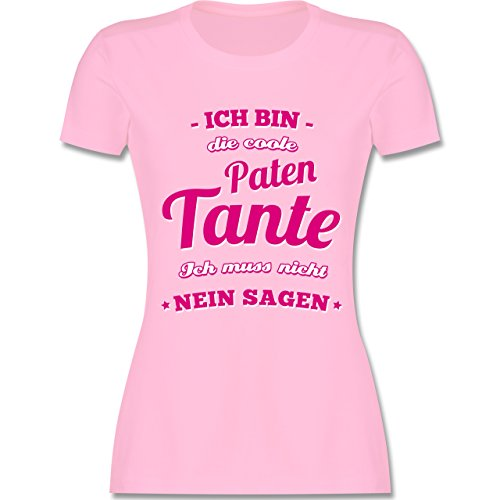 Schwester & Tante - Ich bin die coole Patentante - tailliertes Premium T-Shirt mit Rundhalsausschnitt für Damen Rosa