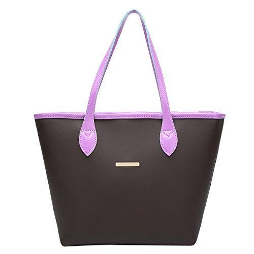 Donne Moda Borsa A Tracolla Stile College Borsa A Righe Purple