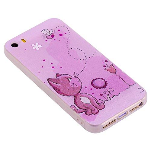 Coque iPhone 5S / 5 / SE , Envelop Coque en Silicone Gel TPU Etui Housse iPhone 5S Souple Flexible Ultra Mince Housse de Protection pour Apple iPhone 5 / 5S / SE (4.0 pouces) Case Cover Soft Slim Minc Chat rose et Fleurs