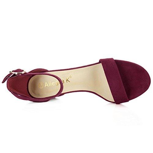 Allegra K donne aperta in punta con tacco cinturino alla caviglia sandali US Nero 10 Burgundy