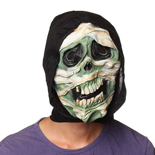 Wsjfc Halloween-Maskerade-Maske, Ganzpersonen-Horror-Perücke, Horror-Gesichtsmaske, Spukhaus, Performance, Room Escape Requisiten, Picturecolor,Bildfarbe -