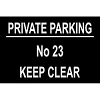Personalised Private No Parking Large Sign Black/White Design Stickers,Warning Stickers Lables,Self Adhesive Vinyl,Safety Notice Caution Sign Decals, 30X20CM