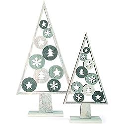 """'Small foot 10206Árbol Decorativo """"Navidad 2unidades, diseño decoración navideña, madera, gris, 17.00x 5.00x 33.00cm"""