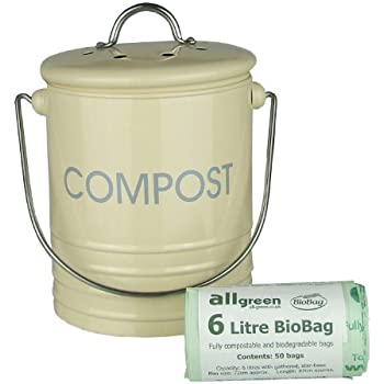 Cream Metal Mini Kitchen Compost Caddy U0026 50x All Green Biobags   Composting  Bin For
