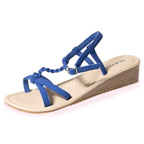 Sandales à Talon compensé Femme, Bleu, 37 EU