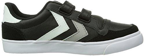 Hummel Hummel Stadil Jr Leather Low, Chaussures de Sport mixte enfant Noir (Black/White/Grey)