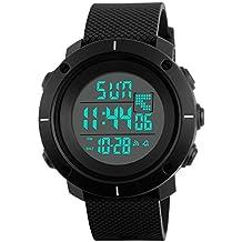 Niños Deportes al aire libre para niños Digital Relojes, 5 bares impermeable Deporte Reloj con alarma temporizador de cuenta regresiva, Negro Grande Cara Reloj de pulsera para teenagers Niños de BHGWR