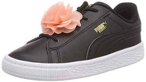 Puma Baby Mädchen Basket Flower AC Inf Sneaker, Schwarz Black White, 27 EU