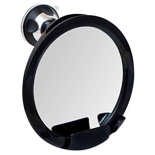 Mirrorvana 2018Bruchsichere Fogless Dusche Spiegel für Rasierpinsel mit Halterung für Rasierer und Superior Sticky Saugfuß, 20,3cm Durchmesser (inkl. Rahmen)