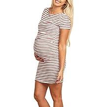 Gusspower Vestido Para Mujer, Mujeres embarazadas moda de rayas de manga corta vestido de maternidad