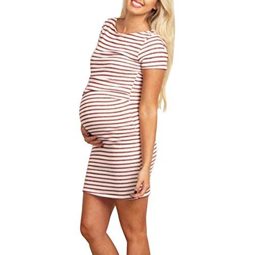 Damen Kurzarm Umstandskleid Sommer Mode Streifen Umstandsmode Frauen Freizeit Mutterschafts Kleid Umstandspyjama Nachtkleid Nachtwäsche (Rot, XL)