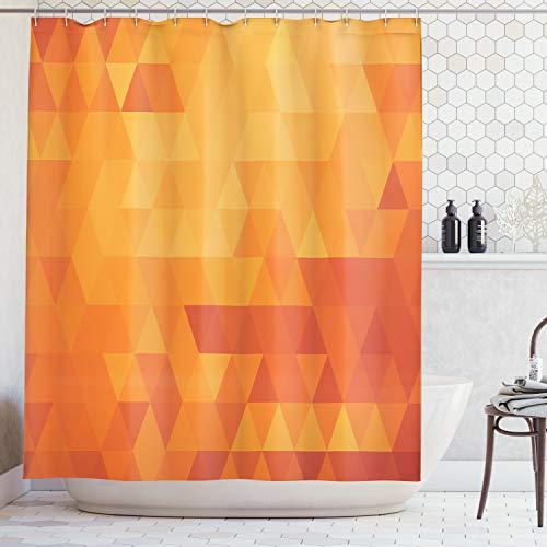 ABAKUHAUS Duschvorhang, Moderner Dreieck Muster Minimalistisch Symmetrisch in Warmen Orange und Rot Tonen Digital Druck, Wasser und Blickdicht aus Stoff mit 12 Ringen Schimmel Resistent, 175 X 200 cm
