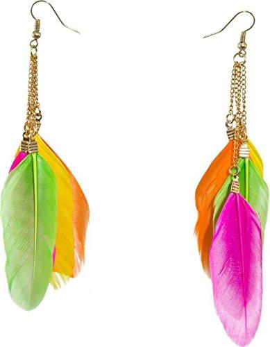 Feder Ohrringe Indianer Ohrhänger neonfarben Neon Federohrringe Neonparty -