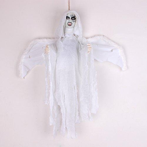 Halloween Dekoration zum Aufhängen Hexe Ghost mit Licht up LED rot Augen & Horrible Stimme und Lasche Flügel Touch & Sound Control Elektrische Requisiten 50,8x 58,4cm (Hexe Animiert)