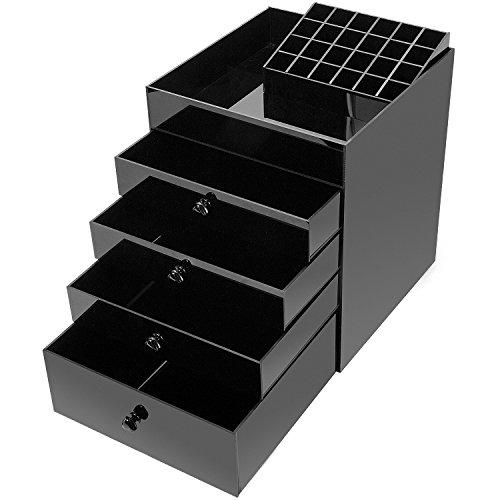 Hbf xxl organizzatore trucchi acrilico nero organizer make up con 4 cassetti e 24 porta rossetti beauty case professionale grande capacità espositore trucchi