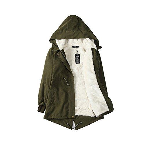 IVIM Damen Wintermantel Winterparka Baumwolle Jacke mit Kapuze, Warmer und Modischer Mantel mit Kordelzug Armeegrün