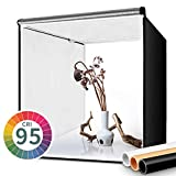 FOSITAN Fotostudio Lichtzelt 60x60x60cm Faltbare Studiobox Lichtwürfel mit 3 Hintergründe (weiß, schwarz, orange) für Professionelle Fotografie
