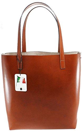 CTM Damen-Tasche, Schultertasche Large, Modell italienischen Stil, 32x34x14cm, 100% echtes Leder Made in Italy Leder