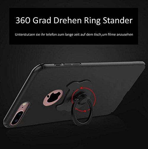 3in 1iPhone 8Plus Ultra Sottile 0.4mm Custodia Matte Case Cover + Rosso Copertura Completa Pellicola Protettiva + anello supporto, sunavy 360gradi Anti Urti Anti Graffi telefono custodia protetti gold