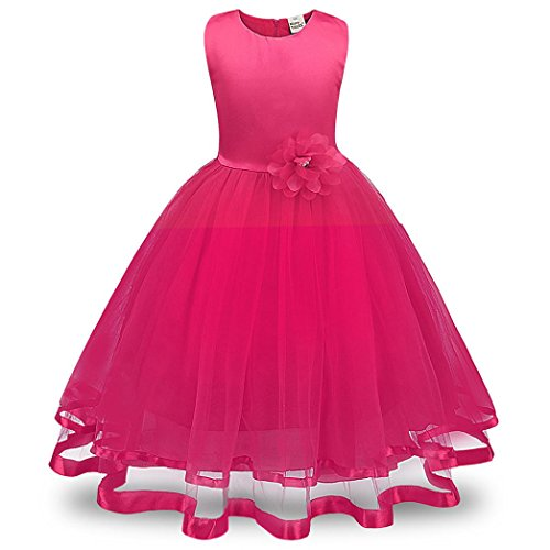 Fuibo Mädchen Partykleid, Festlich Kleid Blumenmädchen Prinzessin Brautjungfer Pageant Tutu Tüll Kleid Party Hochzeitskleid (Hot Pink, 130) (Kinder Kleid Hot Pink)