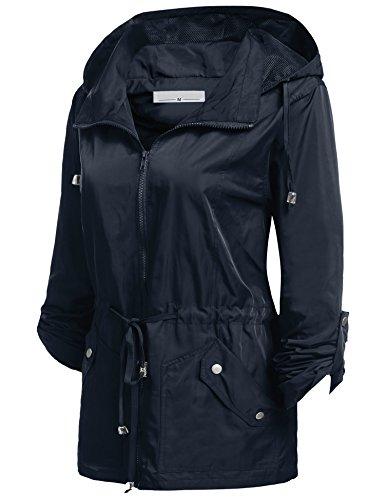Wetterschutzjacke Damen ,Aimado Regenmantel mit abnehmbarer Kapuze wasserdichte Mantel Dunkelblau