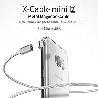 nxet® Cavo Micro USB magnetico, in nylon intrecciato cavo di ricarica dati, caricatore con presa in metallo LED indicatore luce per Samsung Galaxy S2, S3, S4, S6S7Edge, Note 2/3/4/5, Tab S2S, LG G4G3, Sony Xperia Z5Premium/Compatta, ecc. - 24k Miniatura