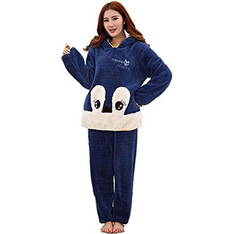 LIUDOUEspesar con capucha de dibujos animados Linda franela ladies pijama conjunto manga larga con pantalones de Pj , 2# , m