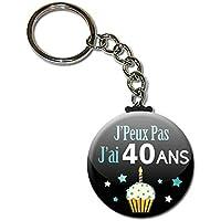j' Peux pas j' ai 40 Ans Porte Clés Chaînette 3,8 centimètres Idée Cadeau Accessoire Humour Anniversaire Birthday Excuse