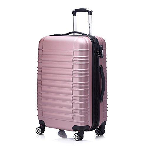 Zwillingsrollen 2088 Reisekoffer Koffer Trolleys Hartschale in XL-L-M in 14 Farben(Pink, M)
