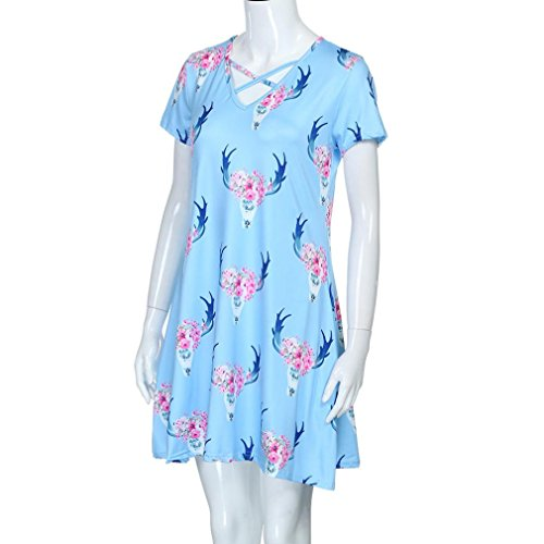 parent-child Dress, Hansee Deer stampa A-Line Dress pullover casual mini vestiti Blue