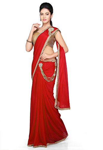 Aarti Saree Pre-Stitched Saree Lycra Saree in Red With Un-Stitched Running Blouse...