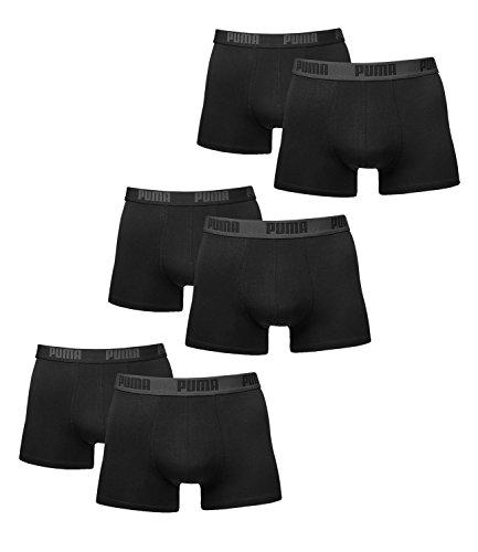 PUMA Herren Basic Boxer Boxershort Unterhose 6er Pack (black / black, XL) (Six Pack-tasche)