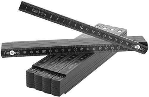 com-four® 5X Zollstock aus Kunststoff, 2 Meter Gliedermaßstab mit 10 Glieder, metrisch in schwarz (05 Stück - Zollstock/schwarz)