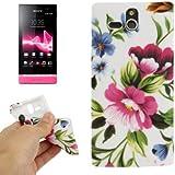 Rocina TPU Case Schutzhülle für Sony xperia U / St25i Blüten pink blau