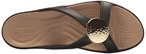 crocs Damen Sanrah Hammered Circle Wedge Women Sandalen Braun (Espresso/gold)