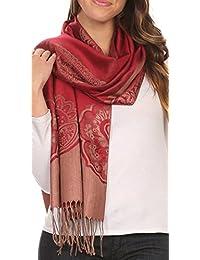 Sakkas Maela Long Extra Wide Traditional Patterned Fringe Pashmina Shawl / Scarve