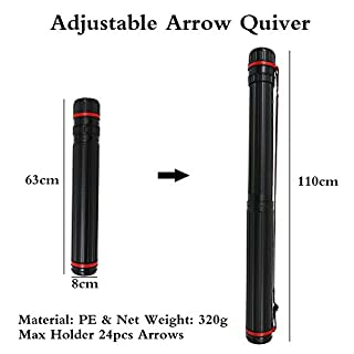 Huntingdoor Archery Arrows Quiver Telescopic Arrow Holders Tube 63cm-110cm Back Arrow Quiver Case for Compound Bow Hunting Arrows