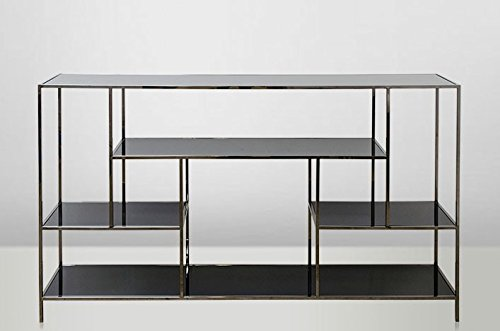 Casa-Padrino Art Deco Luxury Shelving Cabinet Stainless Steel with Tinted Glass Shelves H108 x 190 x 40 cm - Bookcase Shelving Cabinet - Art Nouveau Furniture