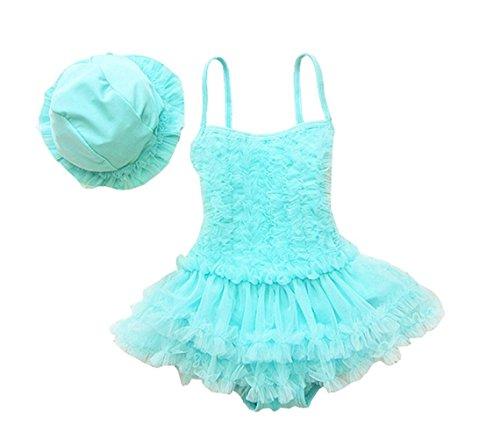 Taiycyxgan Mädchen Prinzessin Lace Badeanzug TuTu Kleid Kleinkind Bademode Tankini Mit Hut Blau X (Kleid Meerjungfrau Kleinkind)