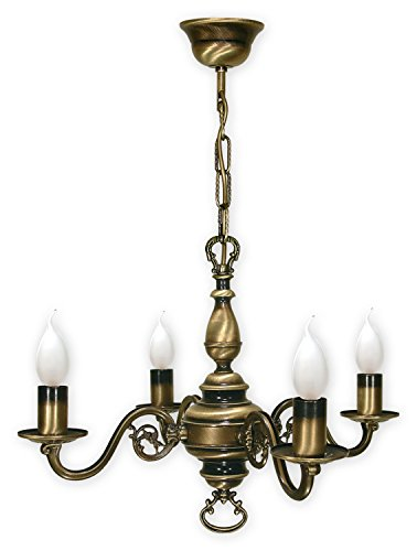 Kroneleuchter mit Kette , 4 flammig Deckenlampe , Lampe in Gründerzeit Stil , Deckenleuchte von...